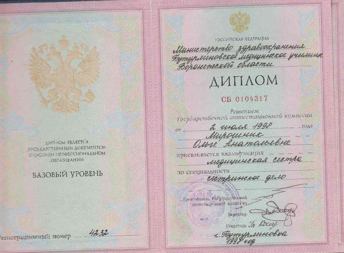 МРТ диагностика павловск ДИПЛОМ СБ 0104317 от 02 июля 1998 г присвоена квалификация медицинская сестра